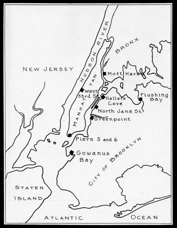 simple map of new york city and surrounding areas showing the location of new york state barge canal piers in the boroughs of the bronx manhattan