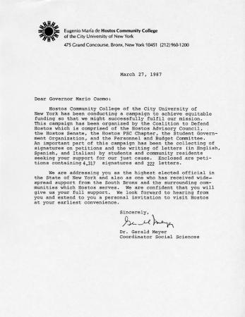 Digital collections new york state archives letter the hostos community college social sciences coordinator to governor mario cuomo thecheapjerseys Image collections